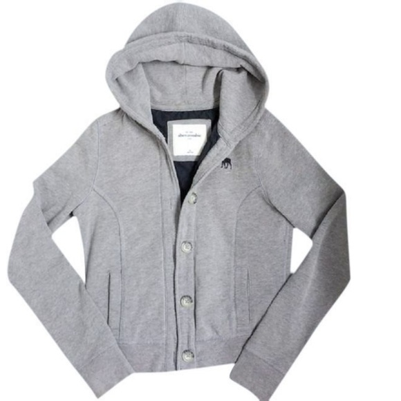 aa2313c1 abercrombie kids Jackets & Coats | Gray Button Up Quilted Hoodie ...